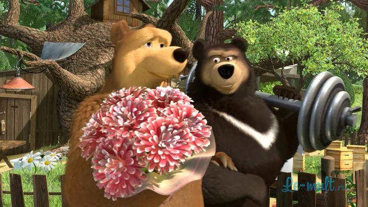 картинки сильная маша и медведь выстрел женщина прыгает