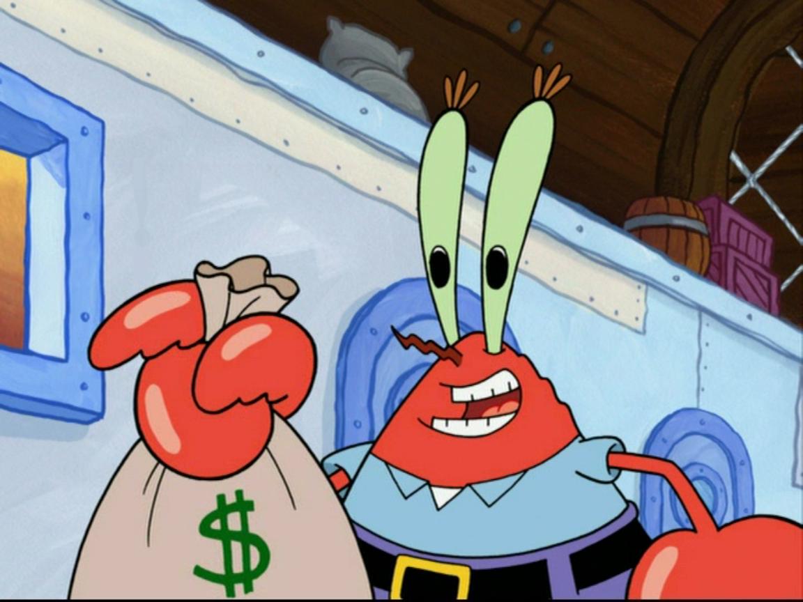 Картинки мистера крабса с деньгами