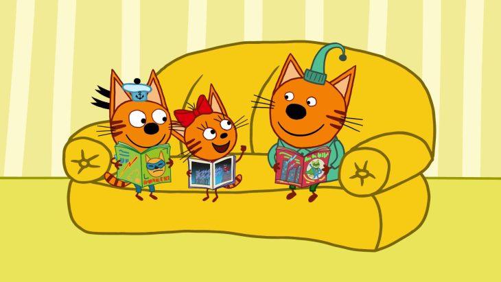 Три кота в картинках, открытку днем учителя
